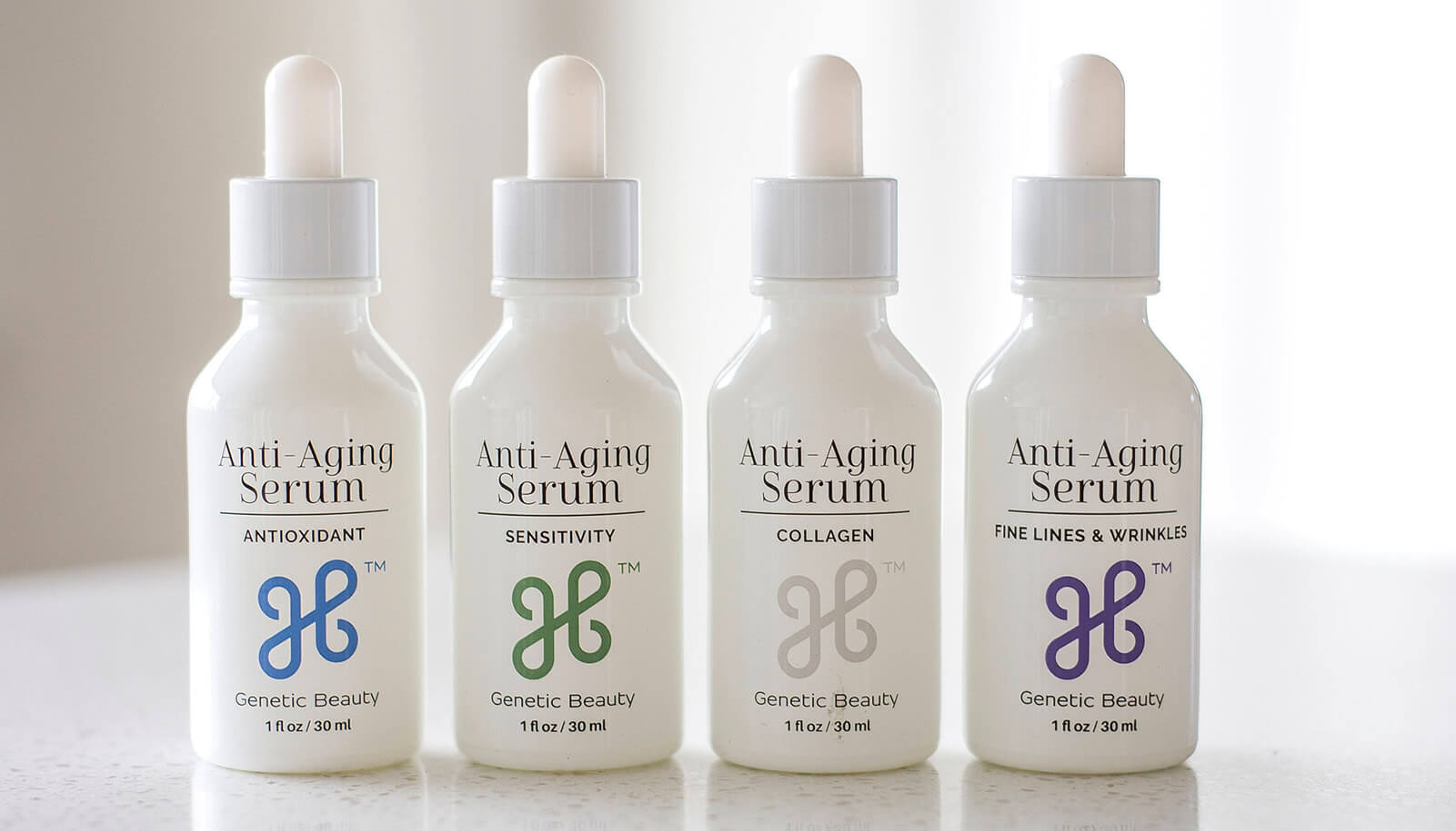 Genetic Beauty review of anti-aging skincare serums displayed on a shelf