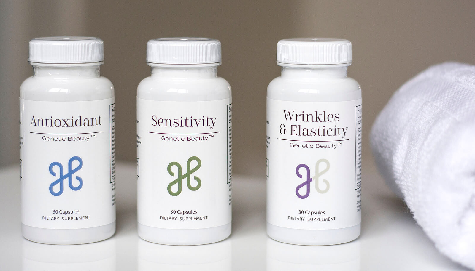 Genetic Beauty skincare supplements displayed on a shelf