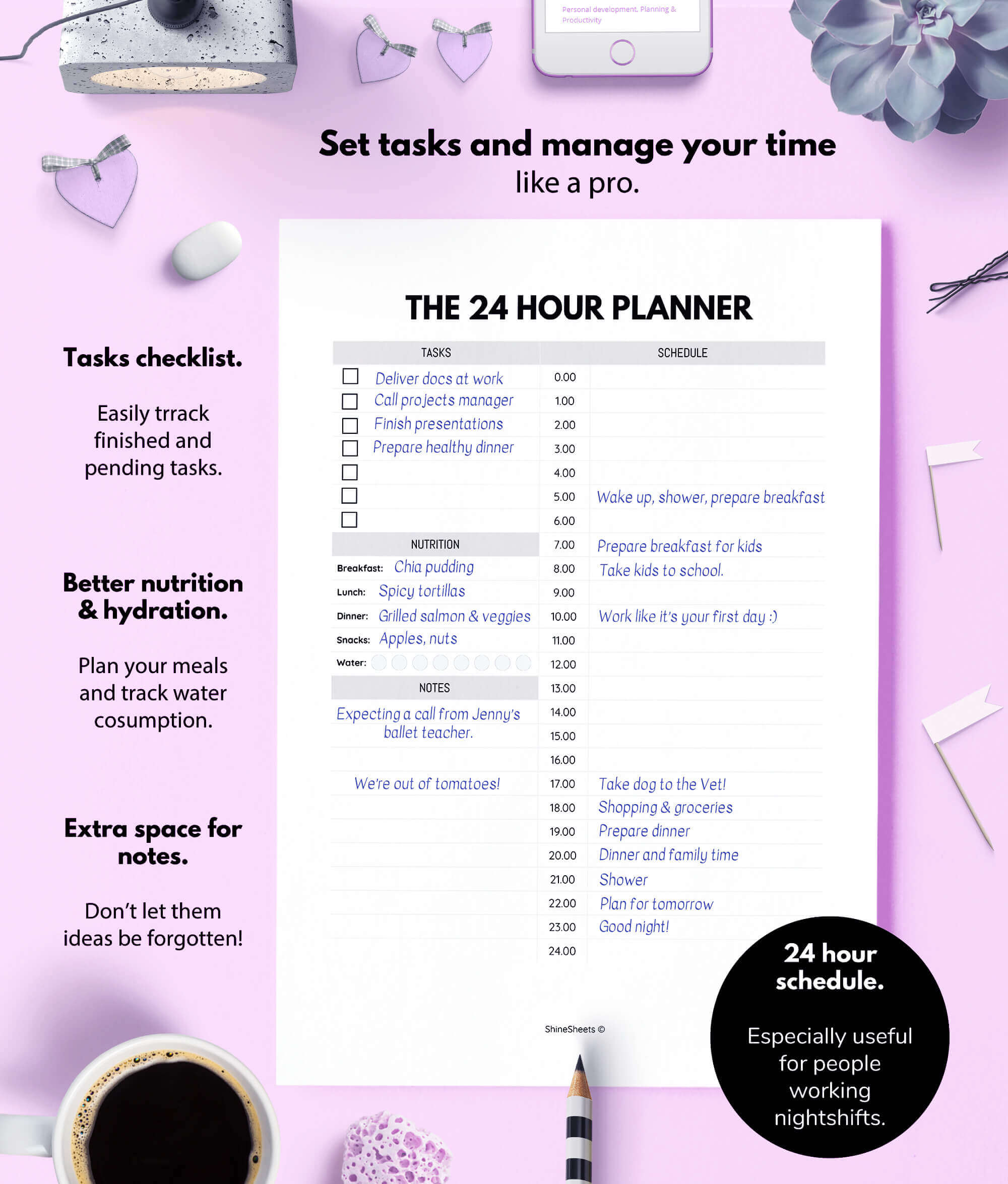 image relating to 24 Hour Daily Planner Printable named 24 Hour Each day Planner Printable