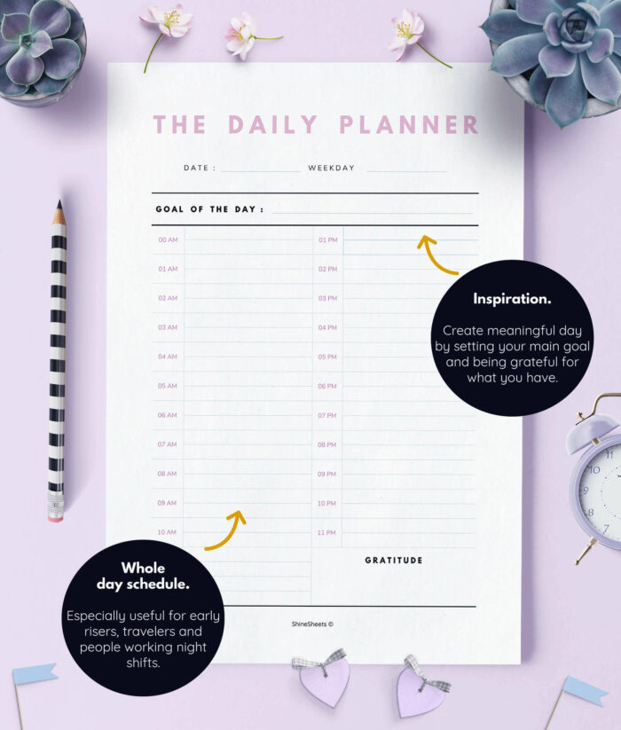 Daily Planner Printable Day On Two Pages – 2(1)