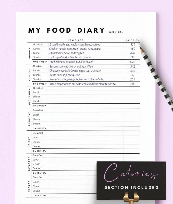 Food Diary Printable – 2(1)