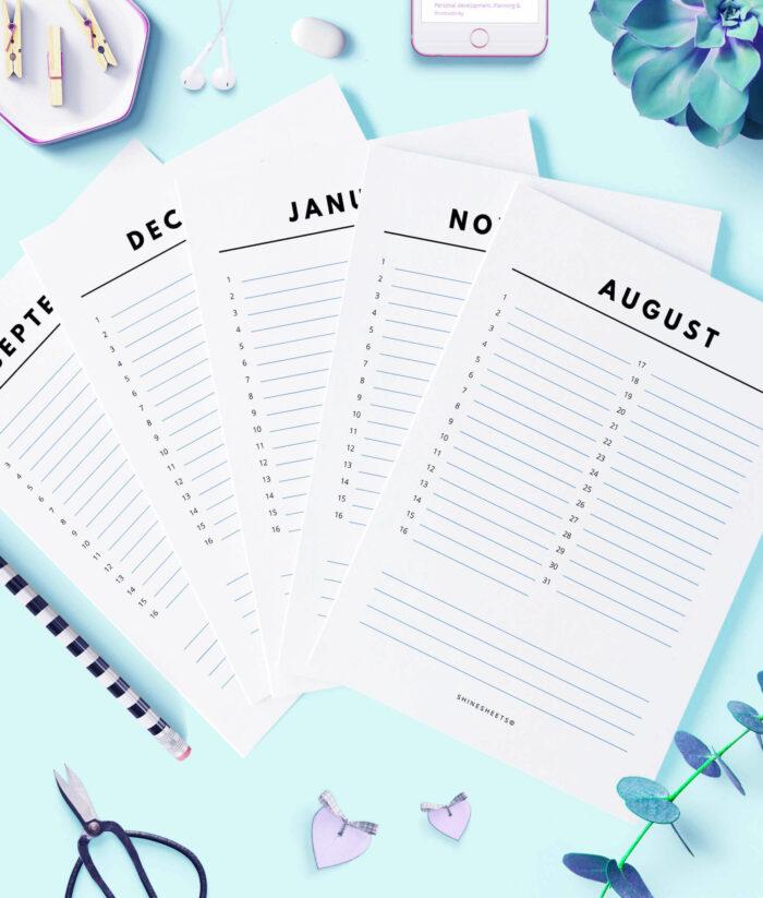 Perpetual Calendar – Birthday Calendar Printable – 1G(1)