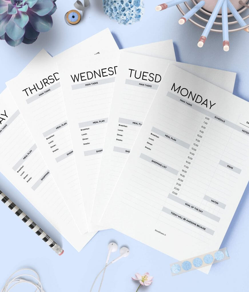 Weekly Planner Day On One Page Printable 1(1)