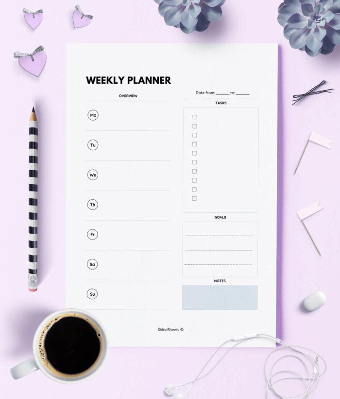 Weekly Planner Printable Week On One Page Print 1(1)