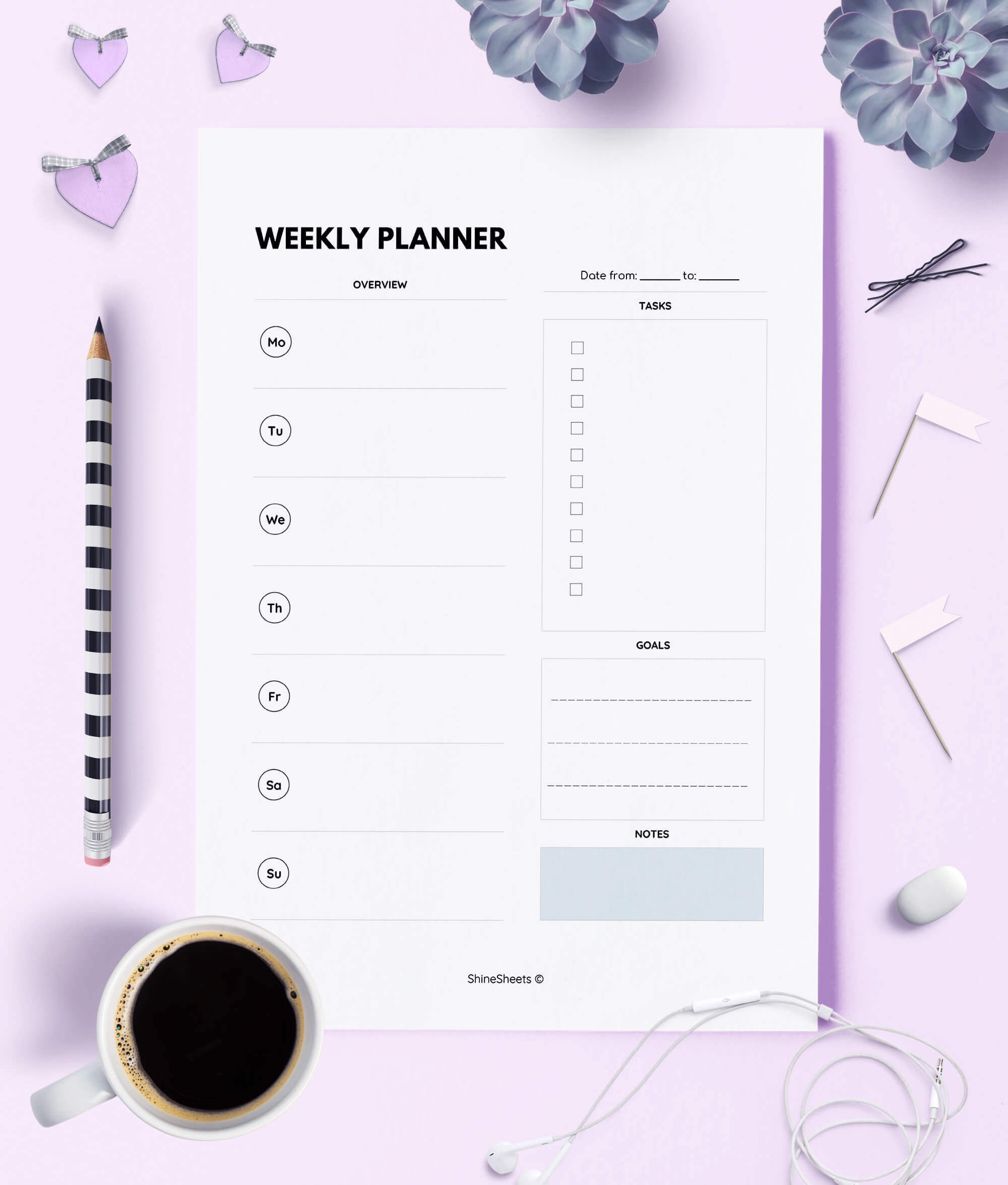 image about Week Planner Printable called Weekly Planner Printable / WO1P