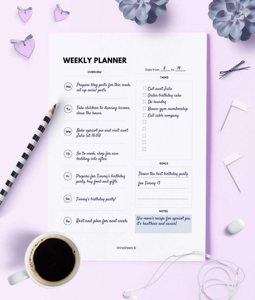 Weekly Planner Printable Week On One Page Print 2(1)