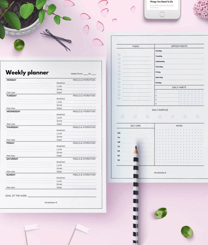 Weekly Planner Printable Week On Two Pages – 4(1)