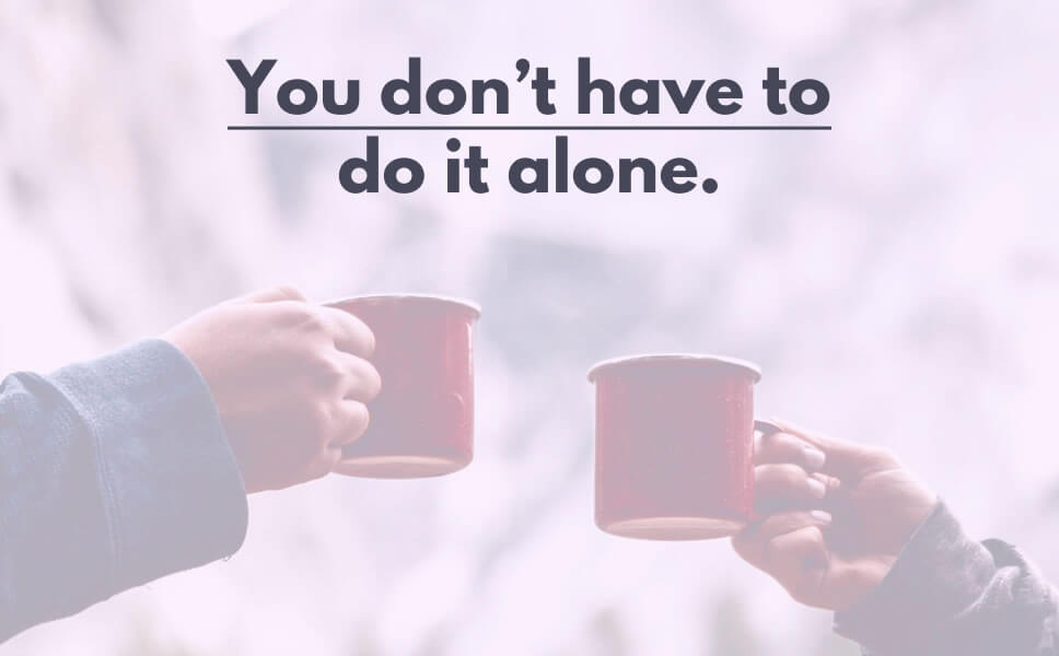 A quote on how to get things done with a display of two people holding cups of coffee