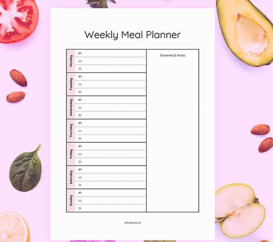 meal planner on table to plan your meals