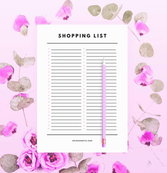 free shopping list printable