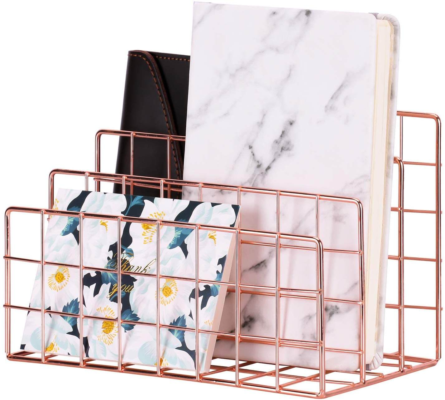 minimalistic rose gold desk organizer as an idea of how to get organized