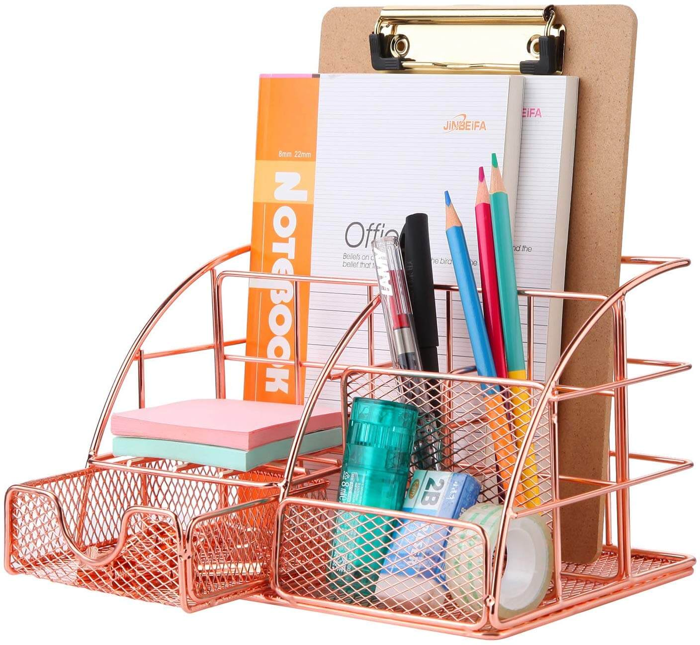 rose gold desk organizer as an idea of how to get organized