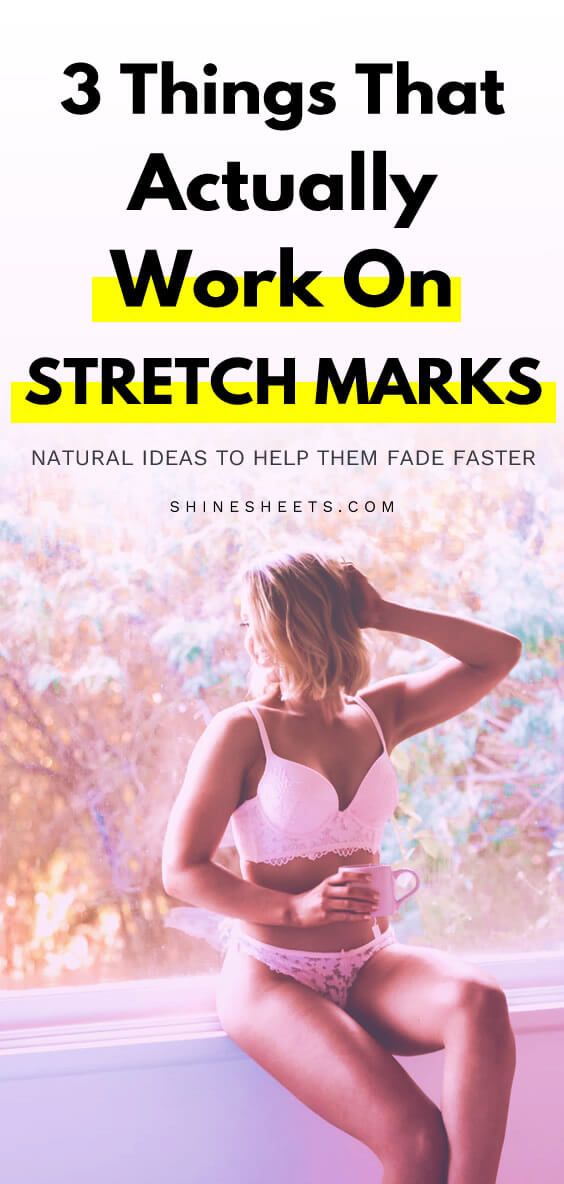 blonde beautiful woman embracing her body despite stretch marks