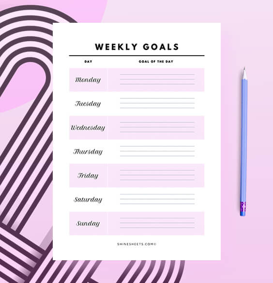Free Printable Weekly Goals Planner