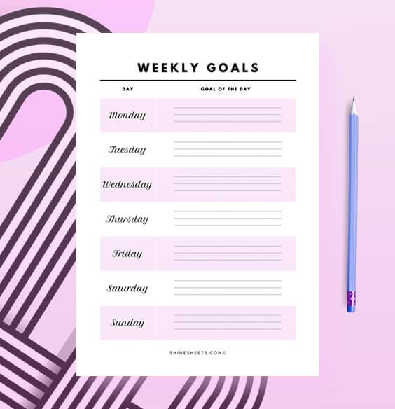 Free Printable Weekly Goals Planner