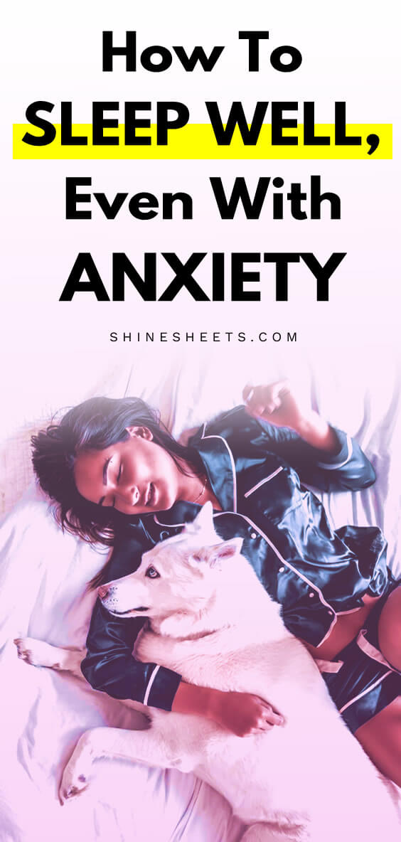 Sad but smiling woman on the bed as an illustration of how to sleep with anxiety