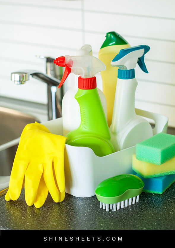various cleaning items in a caddy
