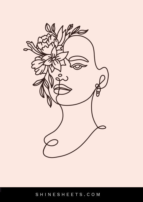 line art of woman head as a concept of how to not care what people think