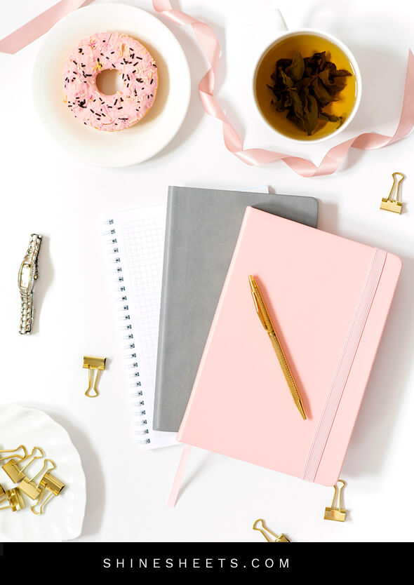pretty journal for therapy tea and a doughnut on the table