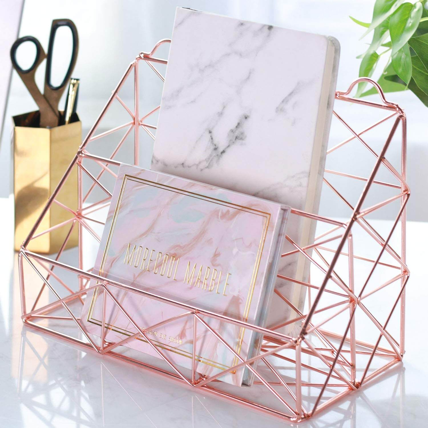 rose gold metal wire organizers as a product suggestion on how to keep your house clean