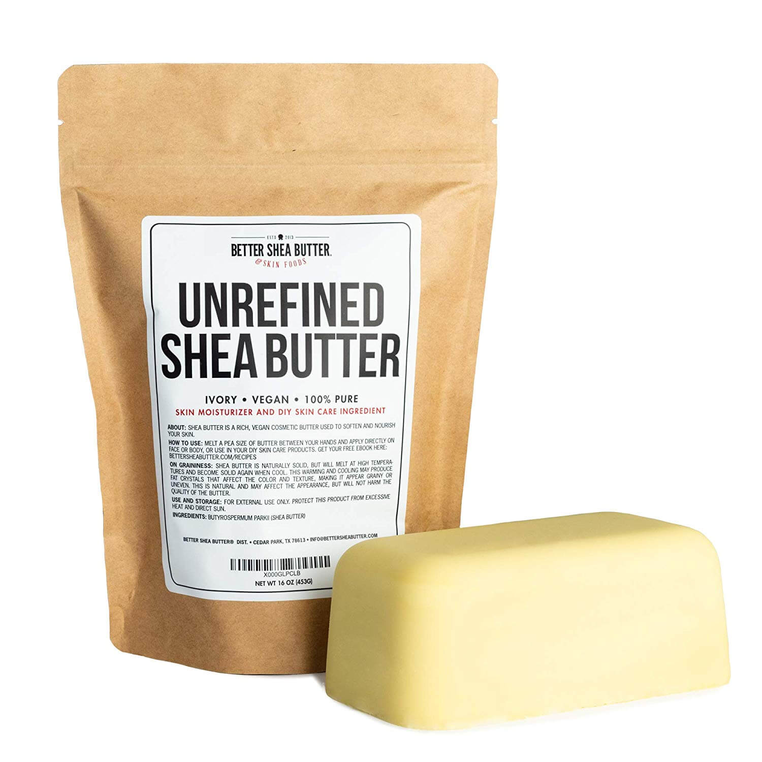 A bar of shea butter - a natural hard oil to make your hair grow faster when used regularly