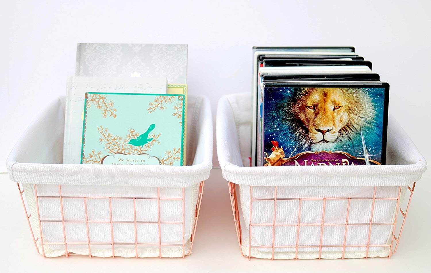 metal wire organizers with books as a product suggestion on how to keep your house clean