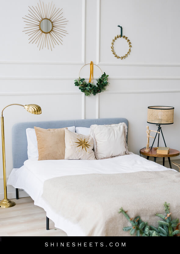 pretty bed in a clean and tidy room