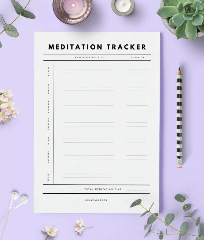 Meditation Tracker Printable 1