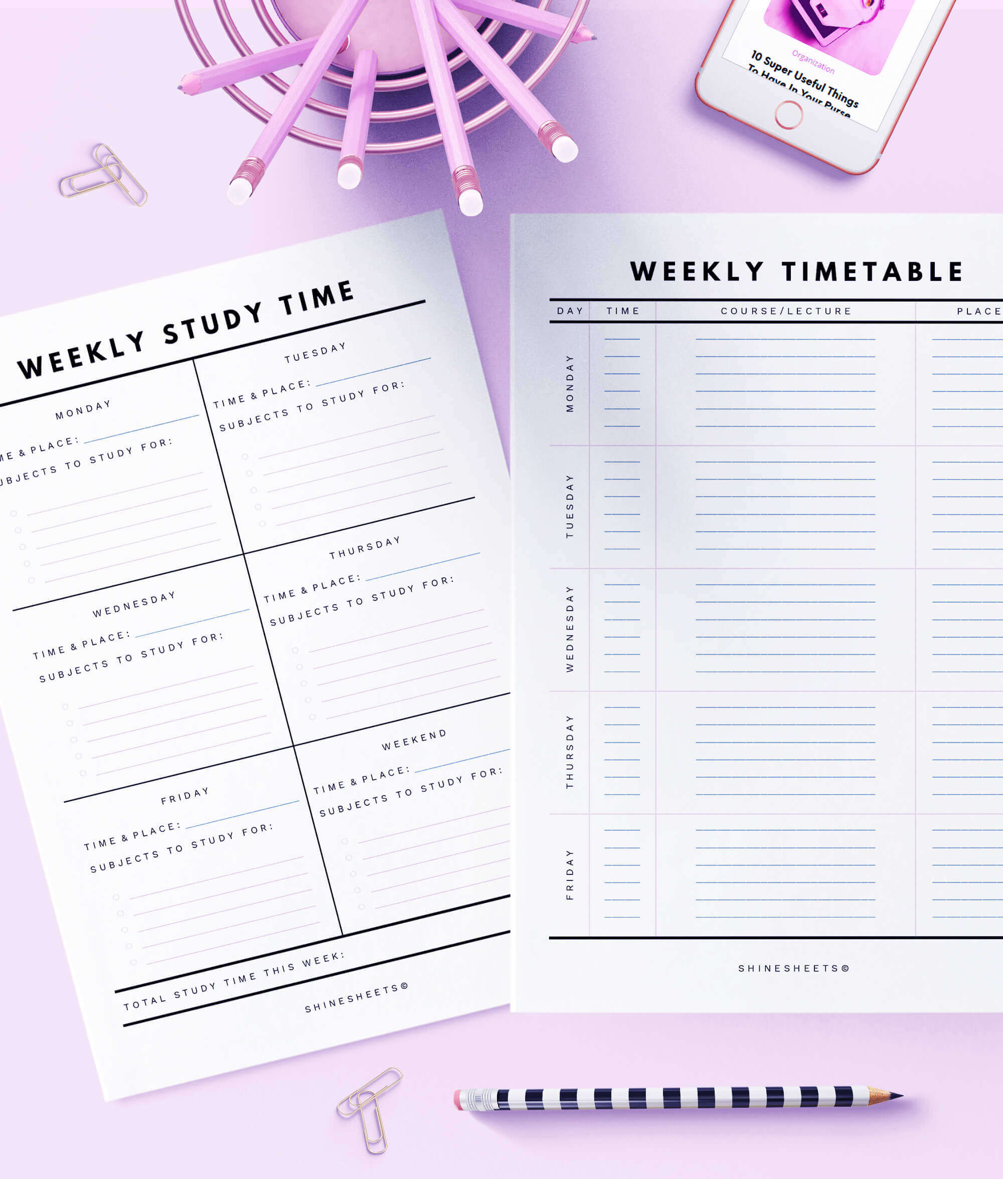 graphic regarding Student Planner Printable identified as University student Planner Printable / 15 Webpages