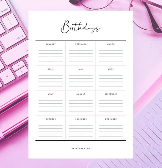 Free Birthdays List Printable