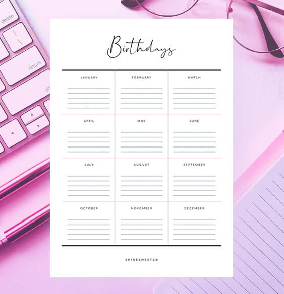 Free Birthday Calendar Printable