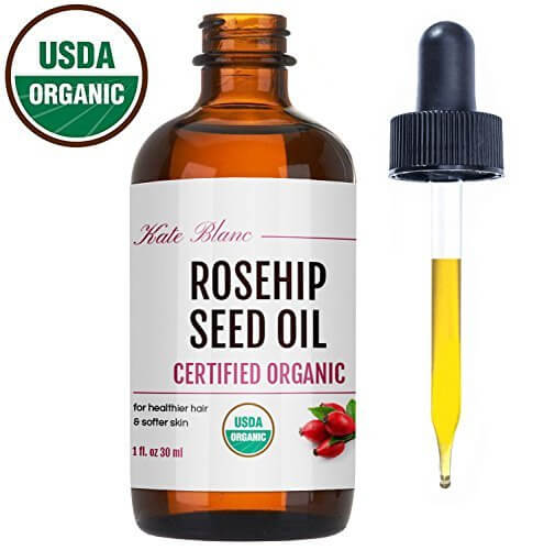 A bottle of rosehip seed oil for oily skin