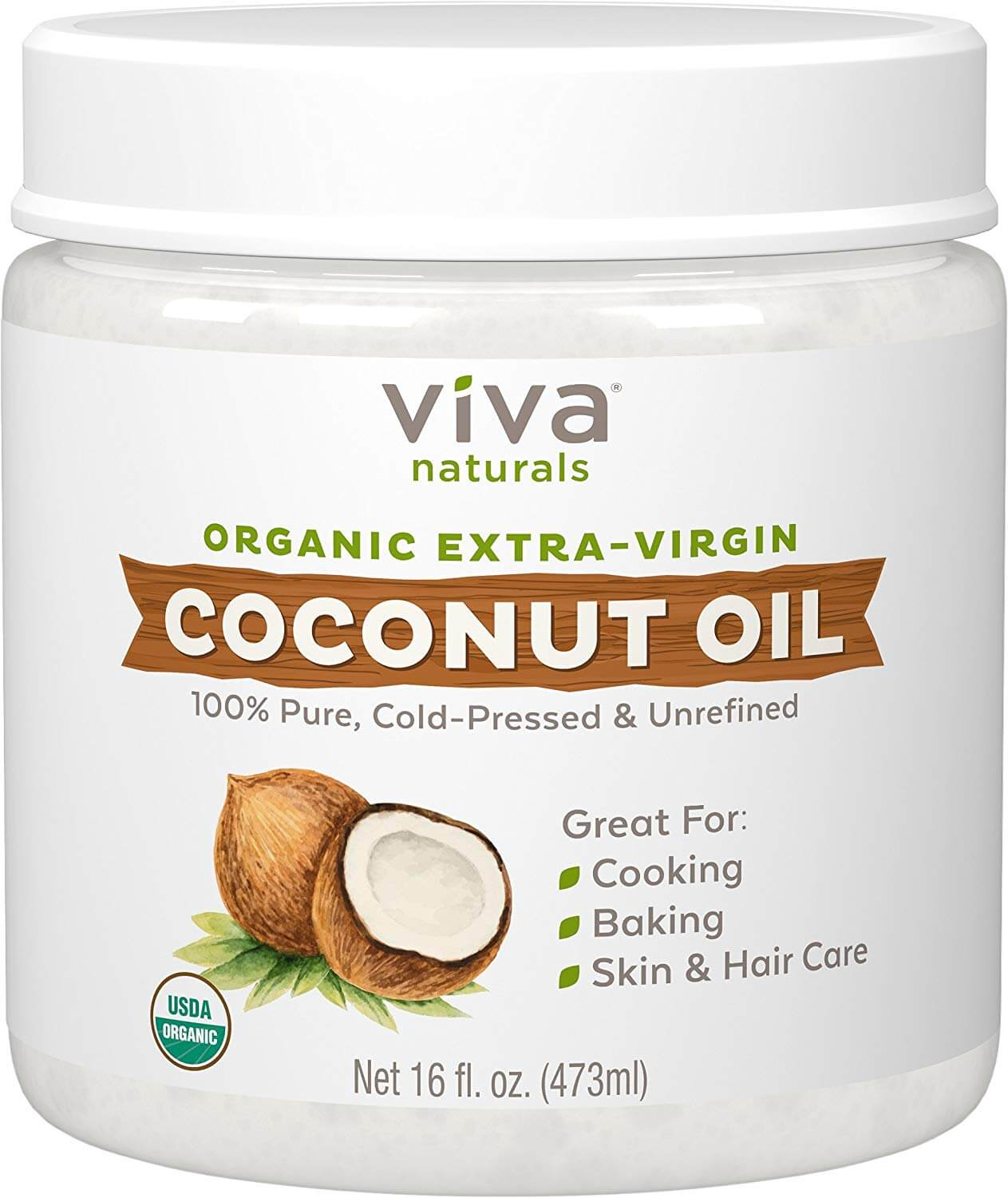A bottle of organic extra-virgin coconut oil