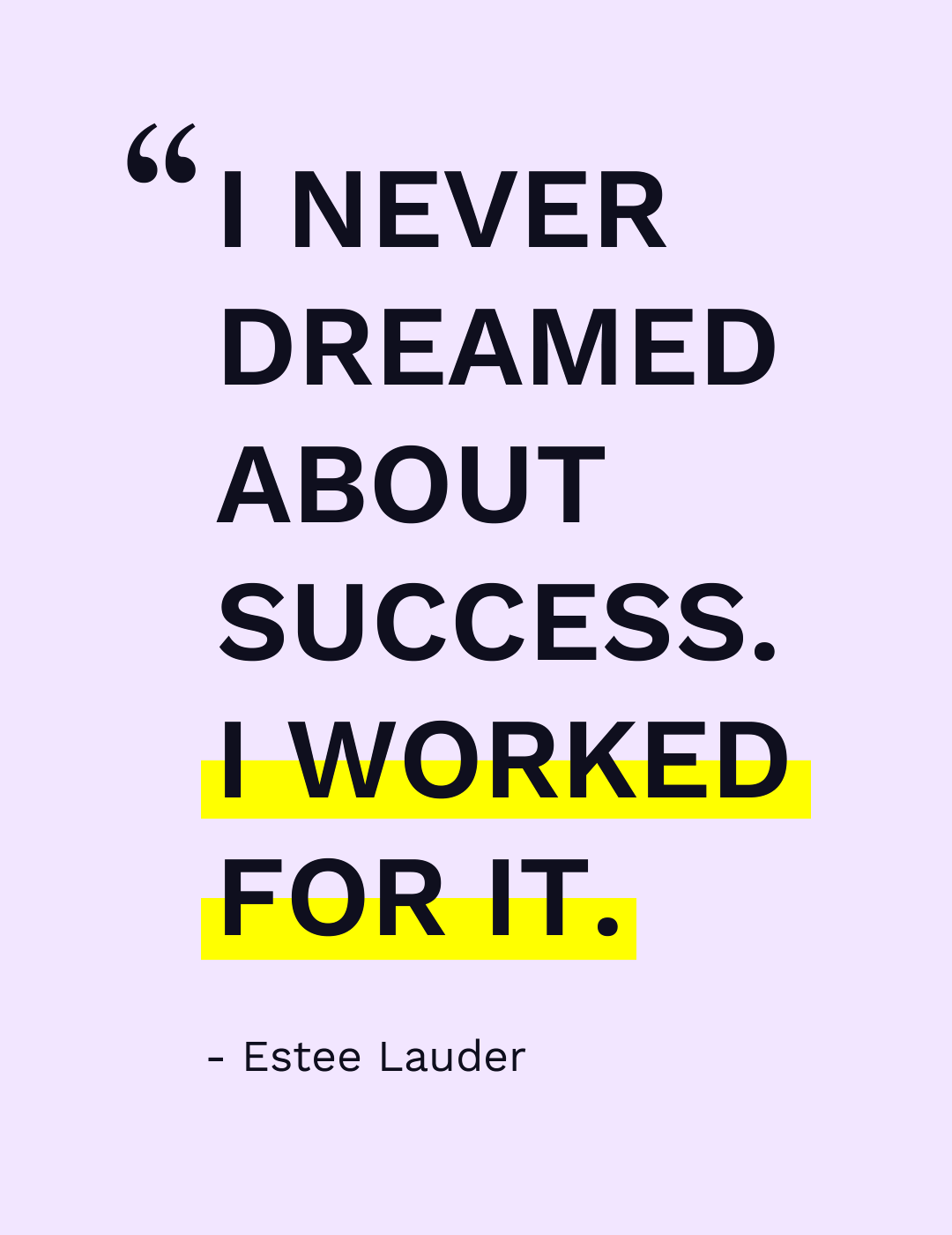 A text of Estee Lauder quote about success and personal goals