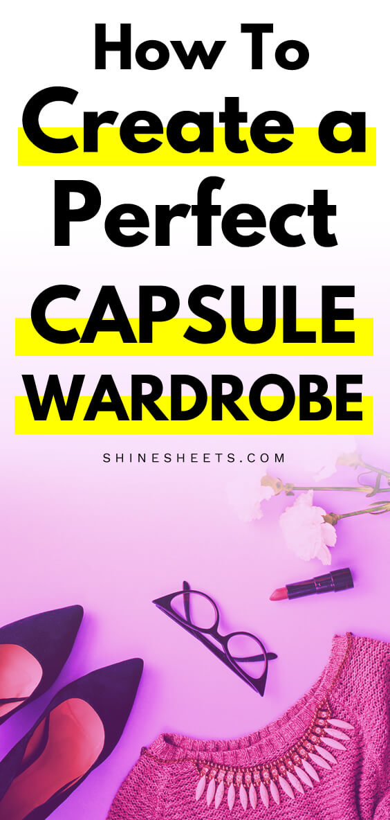 Capsule wardrobe items placed on pretty pink background