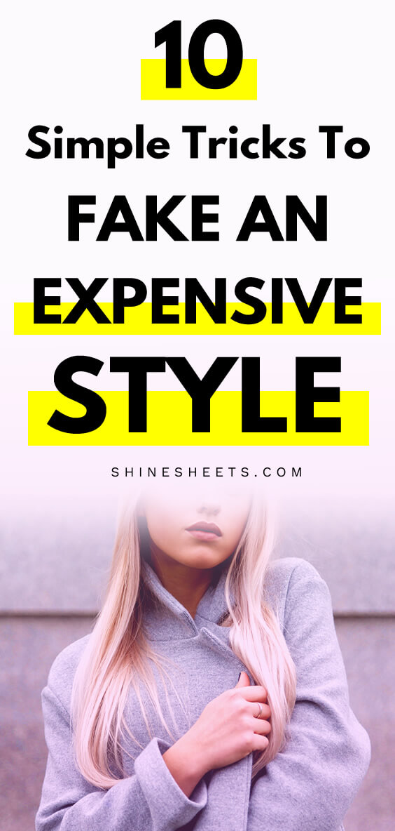 A blonde beautiful woman shows how to look expensive