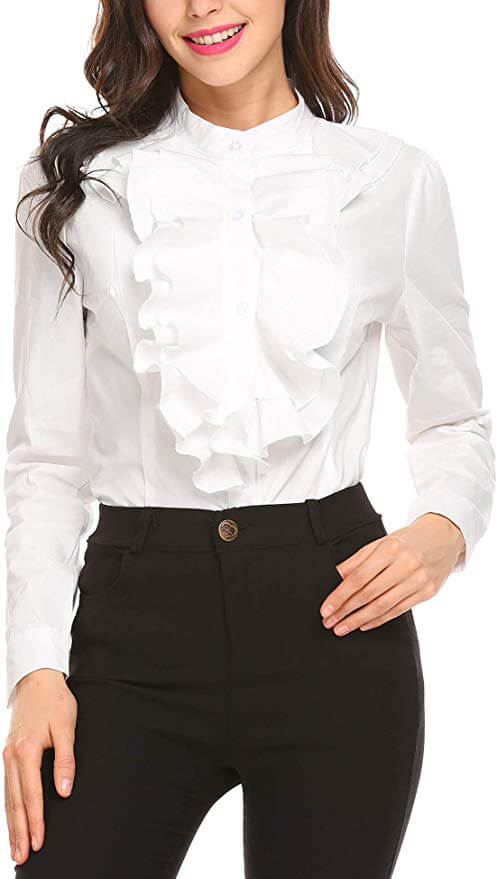 Young woman shows how to look expensive while wearing a white shirt