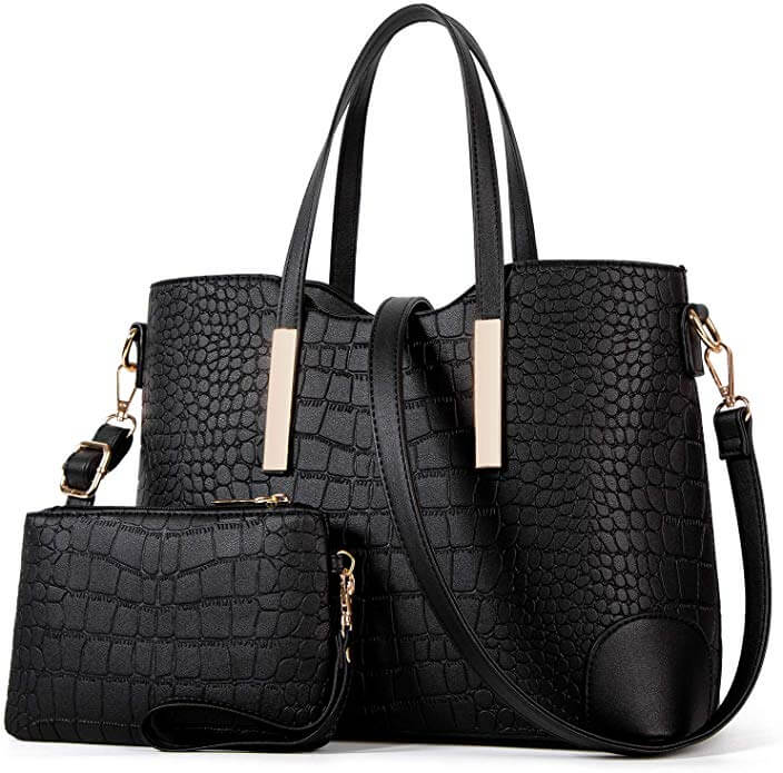 A hard black designer bag as an example of how to look expensive