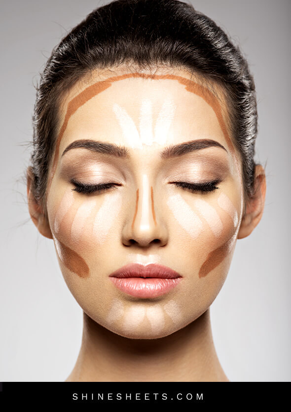 real woman face with markings as a guide on how to apply bronzer
