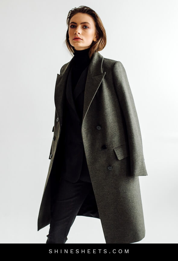 woman with a long coat as an example of how to look expensive