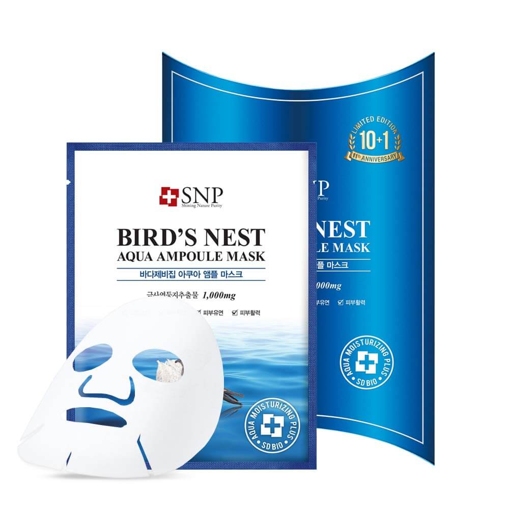 Korean face mask SNP Bird's Nest Aqua Ampoule Mask