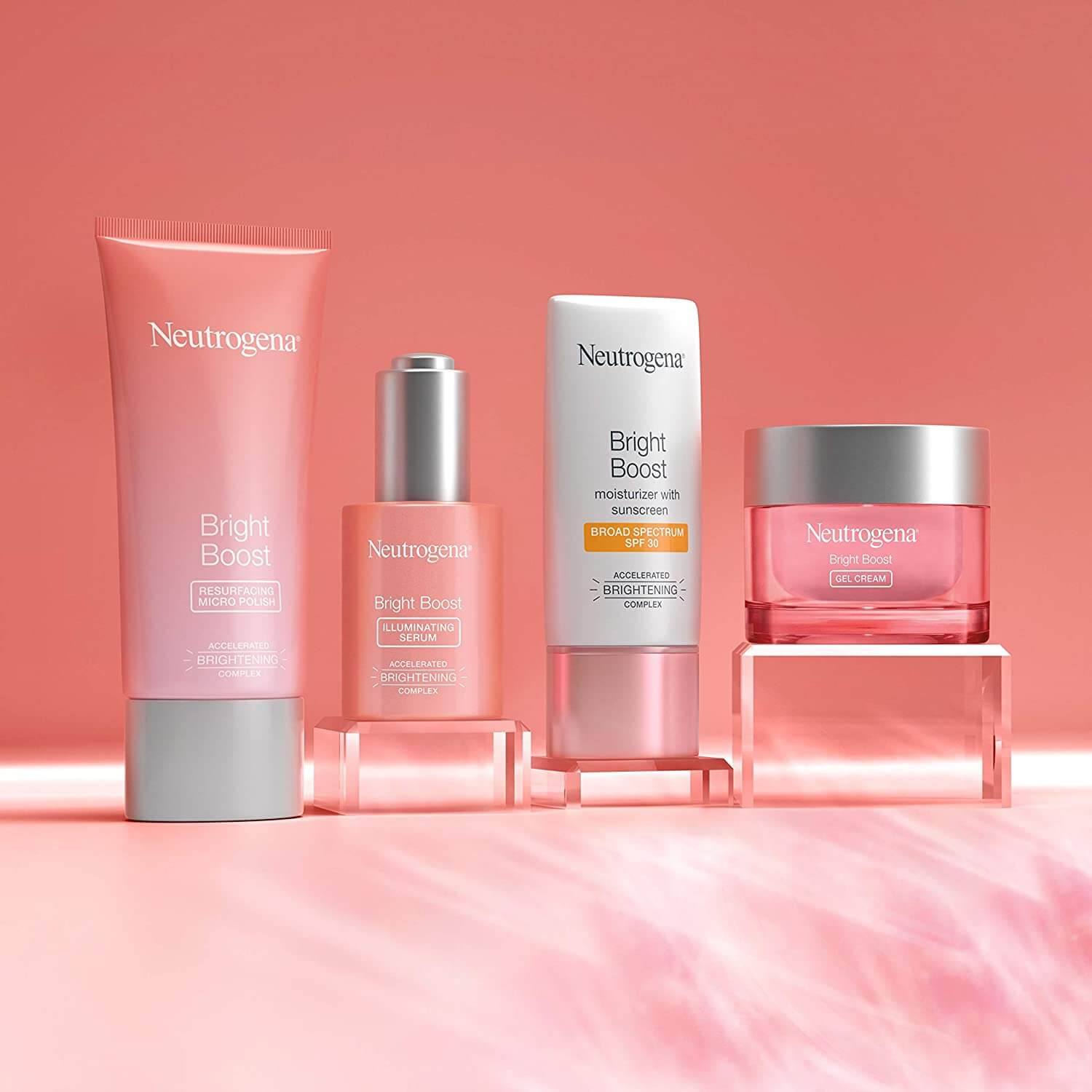 Neutrogena Bright Boost Skincare LIne producst as a part of hydrating facial