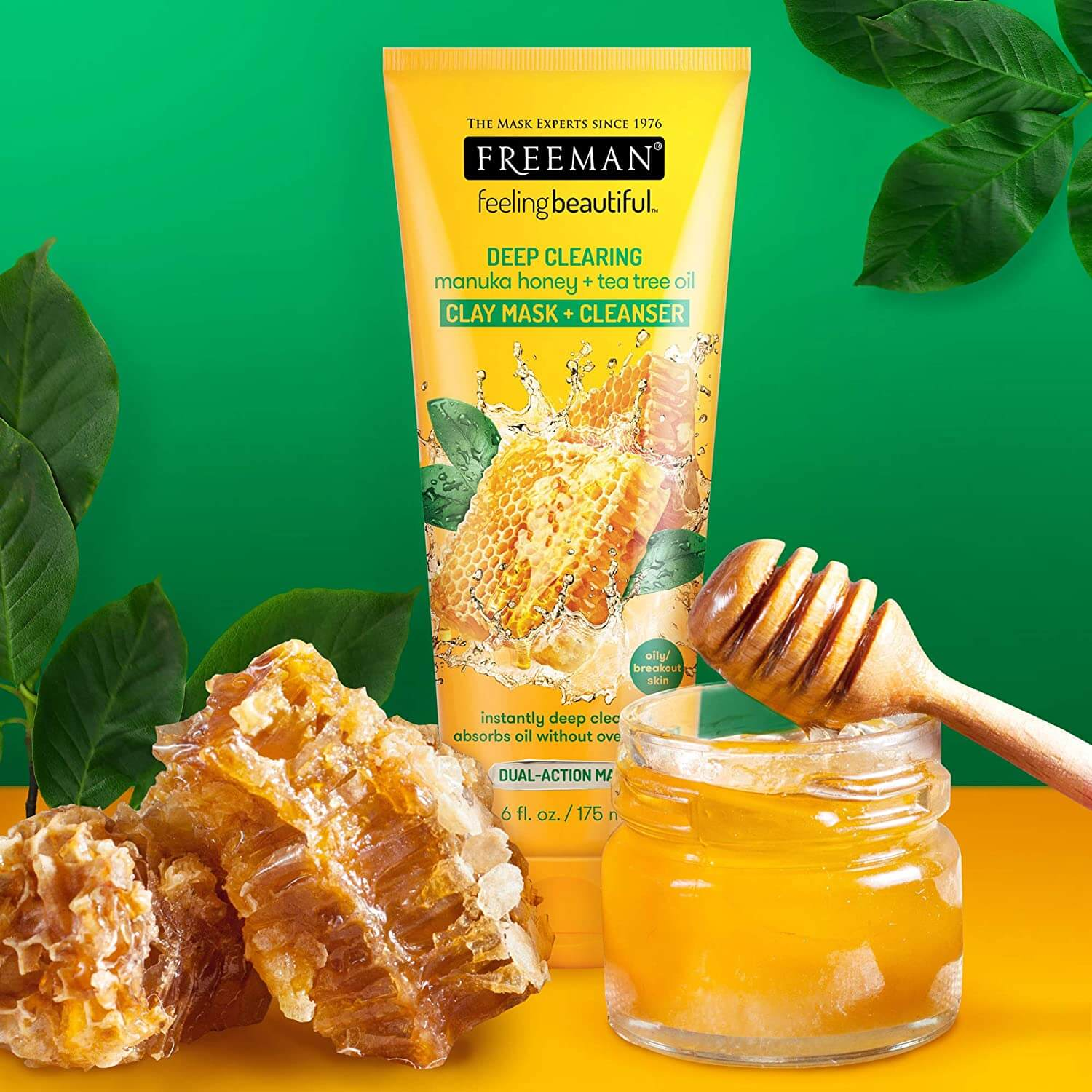 Freeman deep clearing clay mask for skin and chuncks of honey