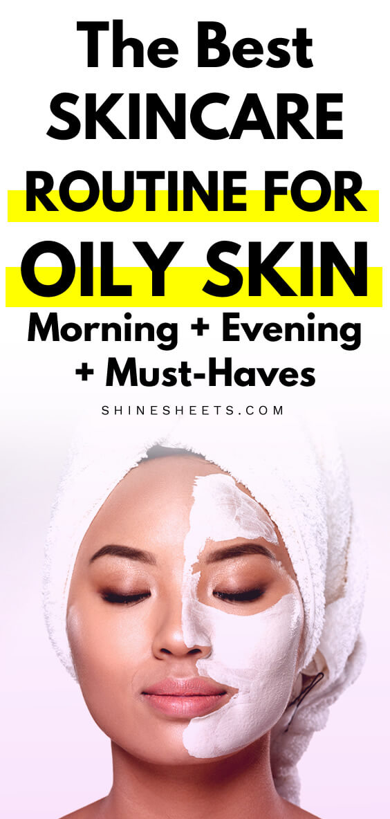 Asian woman with a towel perfoming skincare routine for oily skin