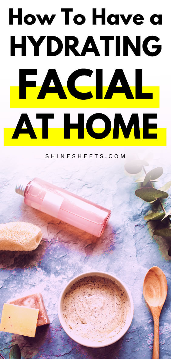 Tools, serums, soaps and lotions for hydrating facial at home