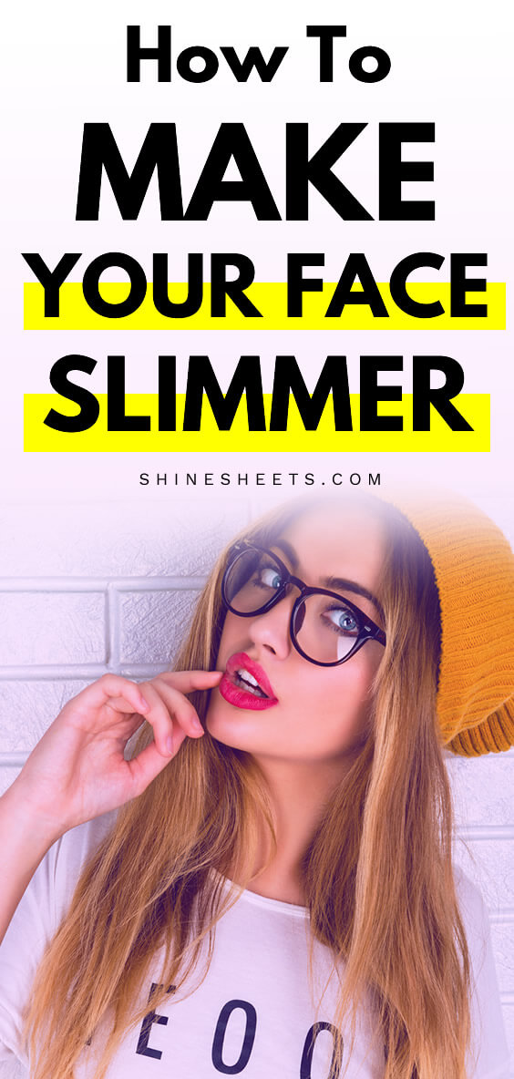 pretty woman with glasses shows how to get a slimmer face with face excercises