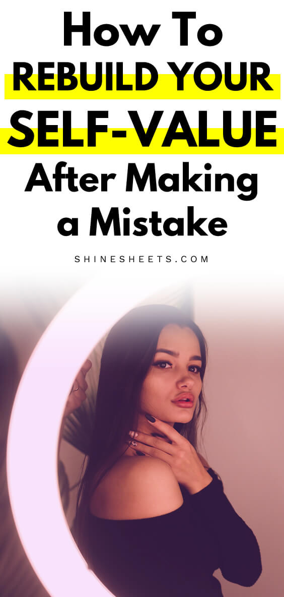 Young woman looking at the mirror and trying to rebuild her self-value