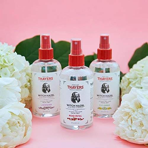 Thayers witch hazel facial mist bottles and peonies