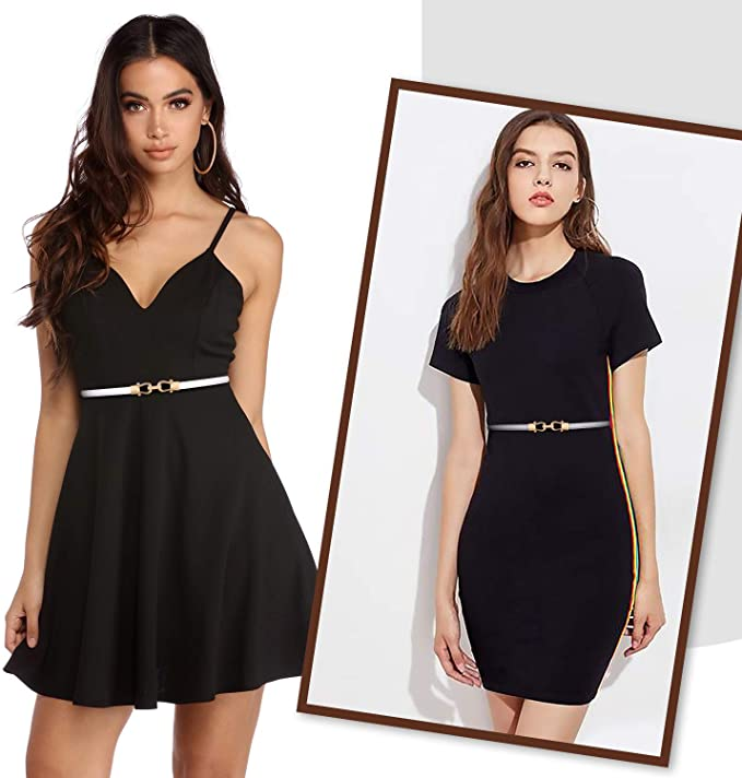 Two women with black dresses show how to be pretty and stylish with a belt