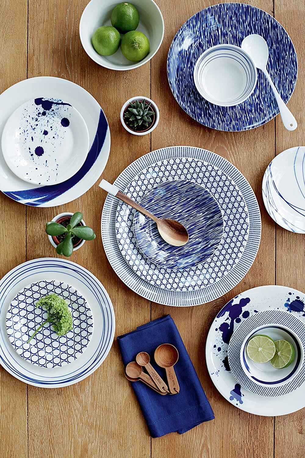 Pretty blue patterned plates displayed as a way to make healthy food taste good